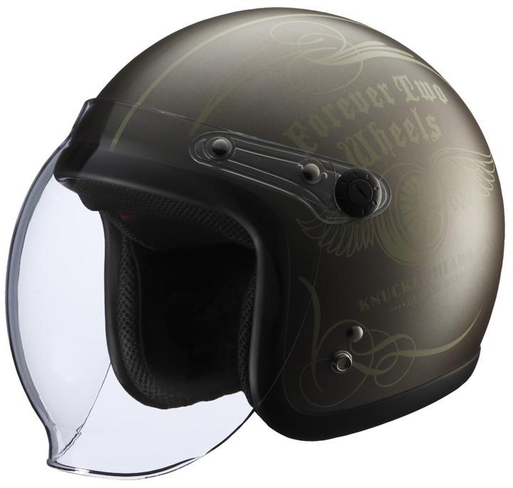 シールド付きヘルメット FLYWHEEL2 ブラウン/アイボリー フリーサイズ(57-60cm) KNUCKLE HEAD(ナックルヘッド)