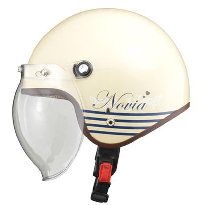NOVIA(ノービア)バブルシールド付スモールロージェットヘルメット レター/アイボリー レディースフリー(55-57未満) リード工業
