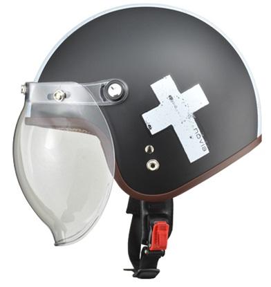 NOVIA(ノービア)バブルシールド付スモールロージェットヘルメット クロス/ブラック レディースフリー(55-57未満) リード工業
