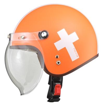 NOVIA(ノービア)バブルシールド付スモールロージェットヘルメット クロス/オレンジ レディースフリー(55-57未満) リード工業