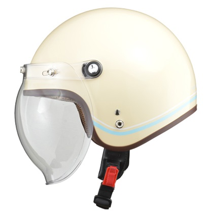 NOVIA(ノービア)バブルシールド付スモールロージェットヘルメット ライン/アイボリー レディースフリー(55-57未満) リード工業