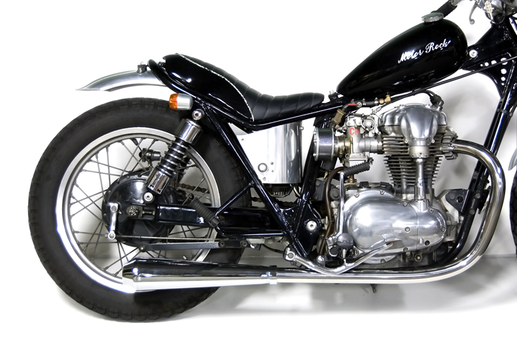W650 メガホンマフラー フルエキゾースト LOW MOTORROCK(モーターロック)