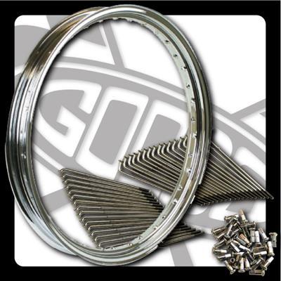 SR400/SR500 21インチキット MT クローム スチールスポーク フロント GOODS(モーターガレージグッズ)