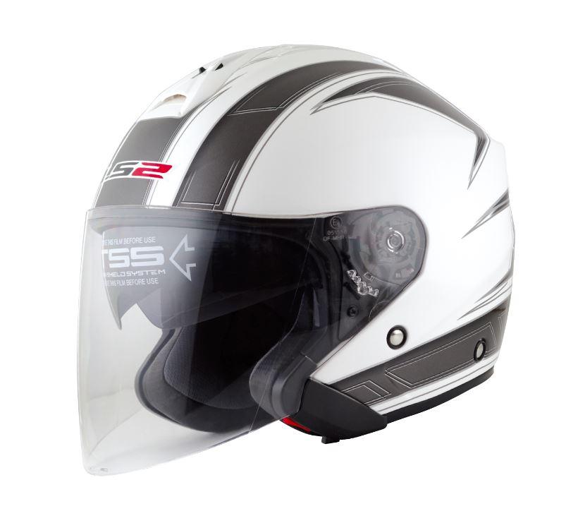 LS2 FREEWAY(フリーウェイ) エスプリホワイト Lサイズ ツインシールド・ジェットヘルメット MHR