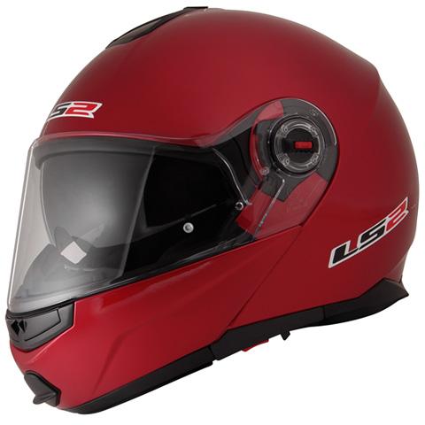 LS2 G-MAC-RIDE レッドメタリック Sサイズ (フリップアップシステムヘルメット) MHR