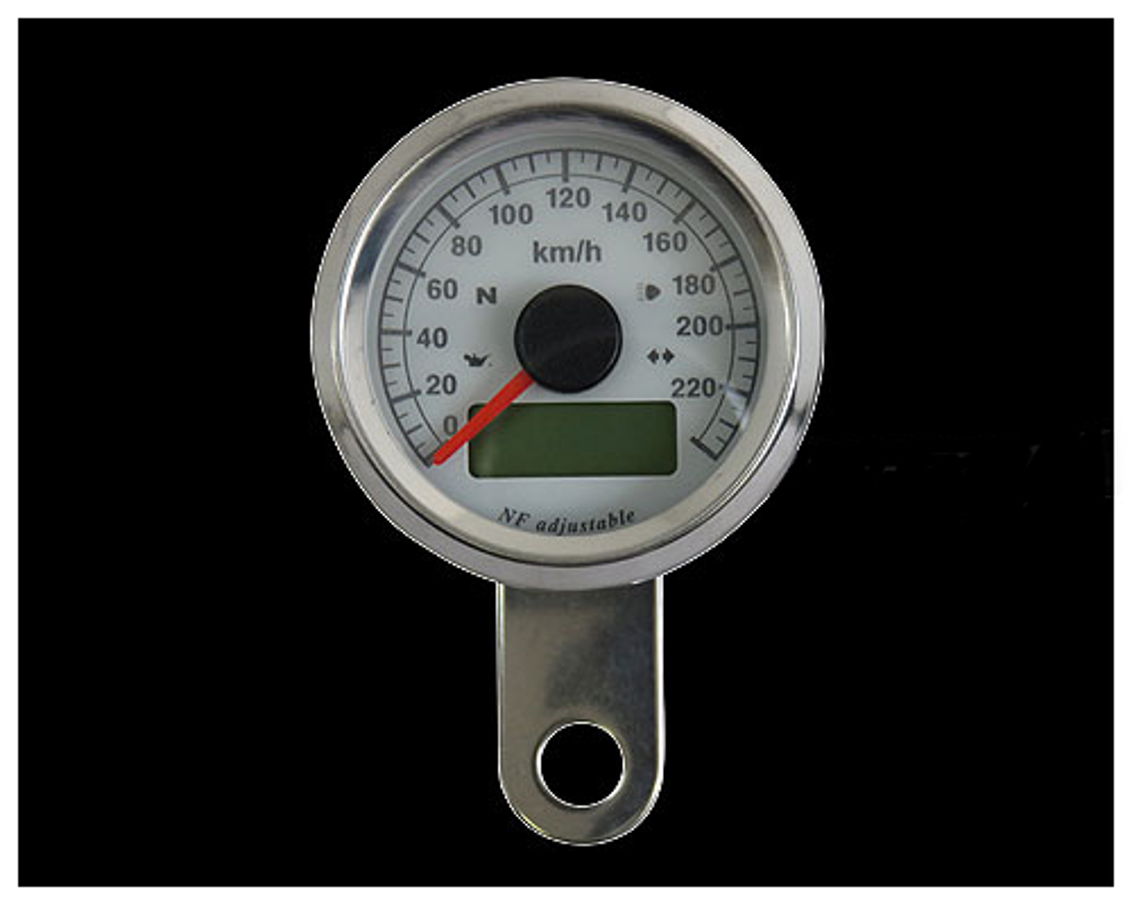 48mm インジケーター付きスピードメーター ステンレス 白盤 白光 NEO FACTORY(ネオファクトリー)