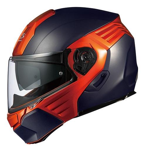 KAZAMI(カザミ)フラットブラック/オレンジ XLサイズ システムヘルメット OGK