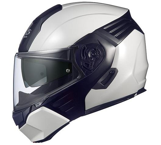 KAZAMI(カザミ)ホワイトメタリック/ブラック Lサイズ システムヘルメット OGK