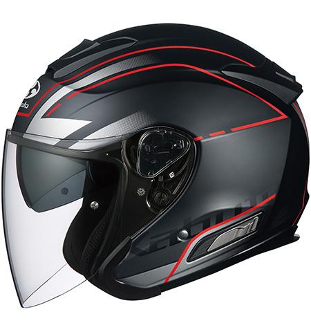 アサギ ビーム インナーサンシェード付オープンヘルメット フラットブラック Mサイズ OGK
