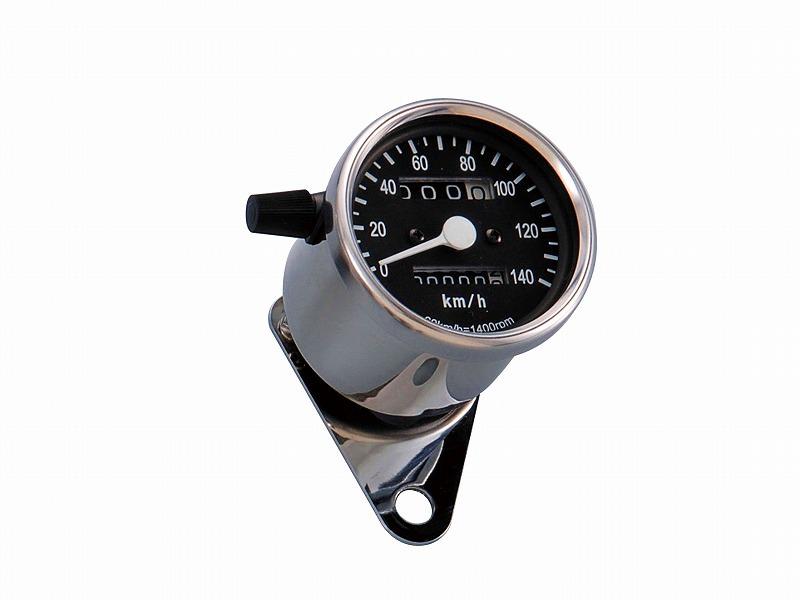 LEDバックライト ミニスピードメーター ブラック(機械式)140km/h表示(トリップ付) POSH(ポッシュ)