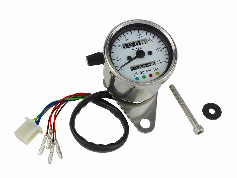 LEDバックライト 4インジケーター ミニメーター ホワイト(機械式)140km/h表示(トリップ付) POSH(ポッシュ)