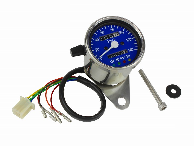 LEDバックライト 4インジケーター ミニメーター ブルー(機械式)140km/h表示(トリップ付) POSH(ポッシュ)