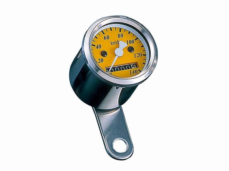 LEDバックライト ミニミニスピードメーター イエロー(機械式)140km/h表示 POSH(ポッシュ)