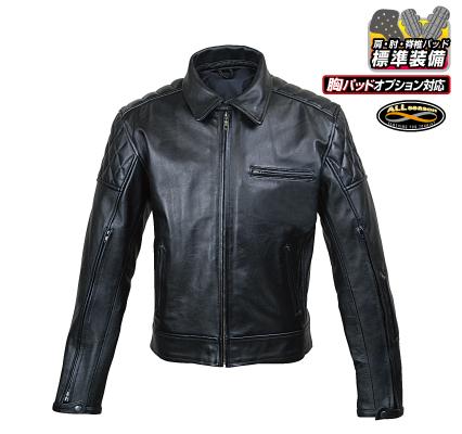 RA5032 ベンテッドシングルレザージャケット ブラック Lサイズ ラフアンドロード(Rough&Road)