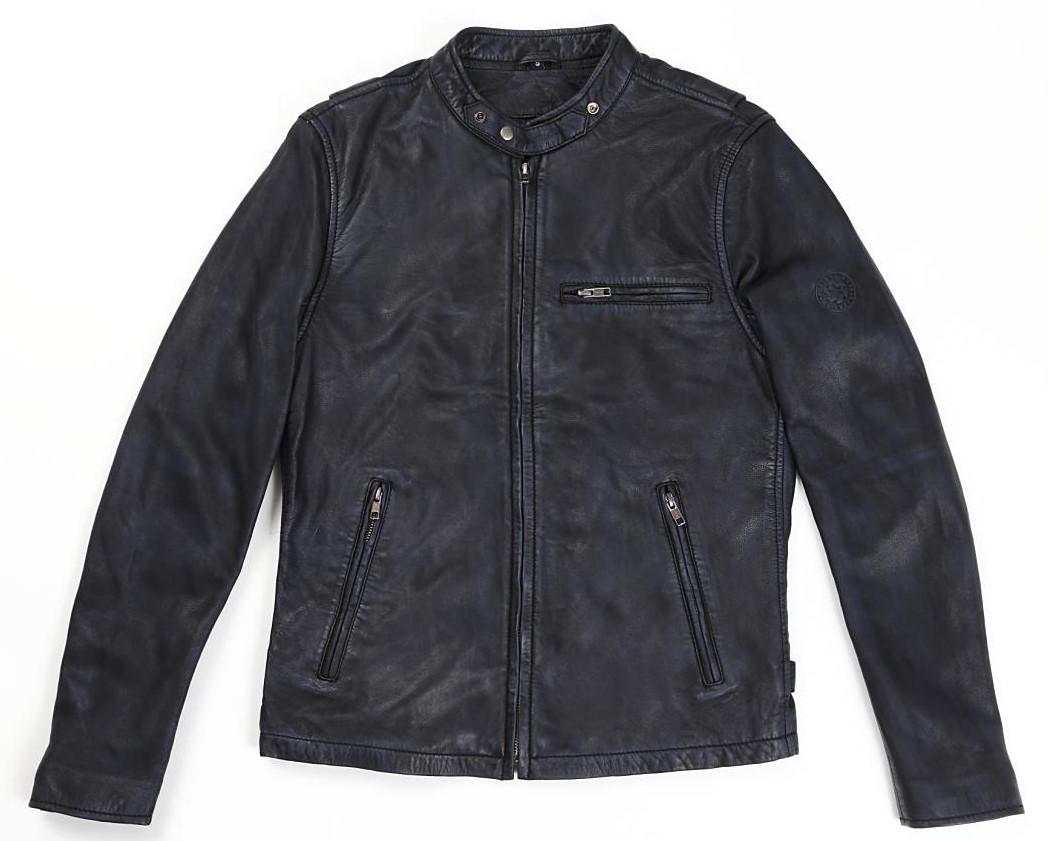 ACE レザージャケット ブラック/ブルー Sサイズ RIDEZ(ライズ)