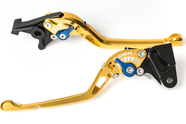 GSX-R1000(09~13年) 可倒式アジャストレバー ブレーキ&クラッチセット ゴールド RIDEA(リデア)