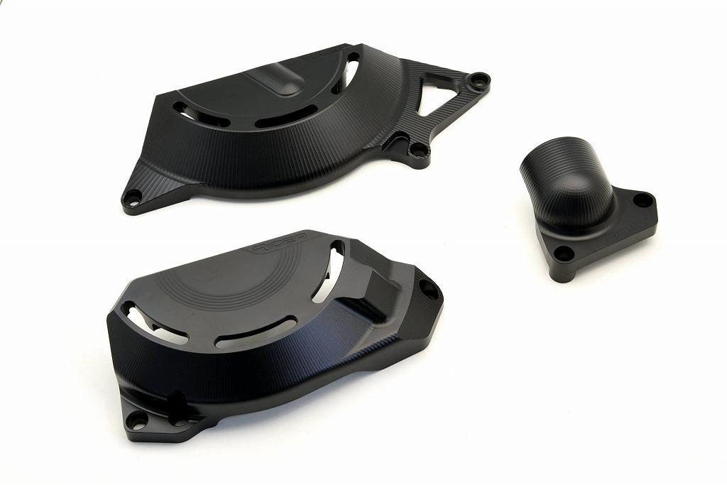 Ninja250(ニンジャ)18年 アルミ削り出しエンジンカバー セット ブラック RIDEA(リデア)