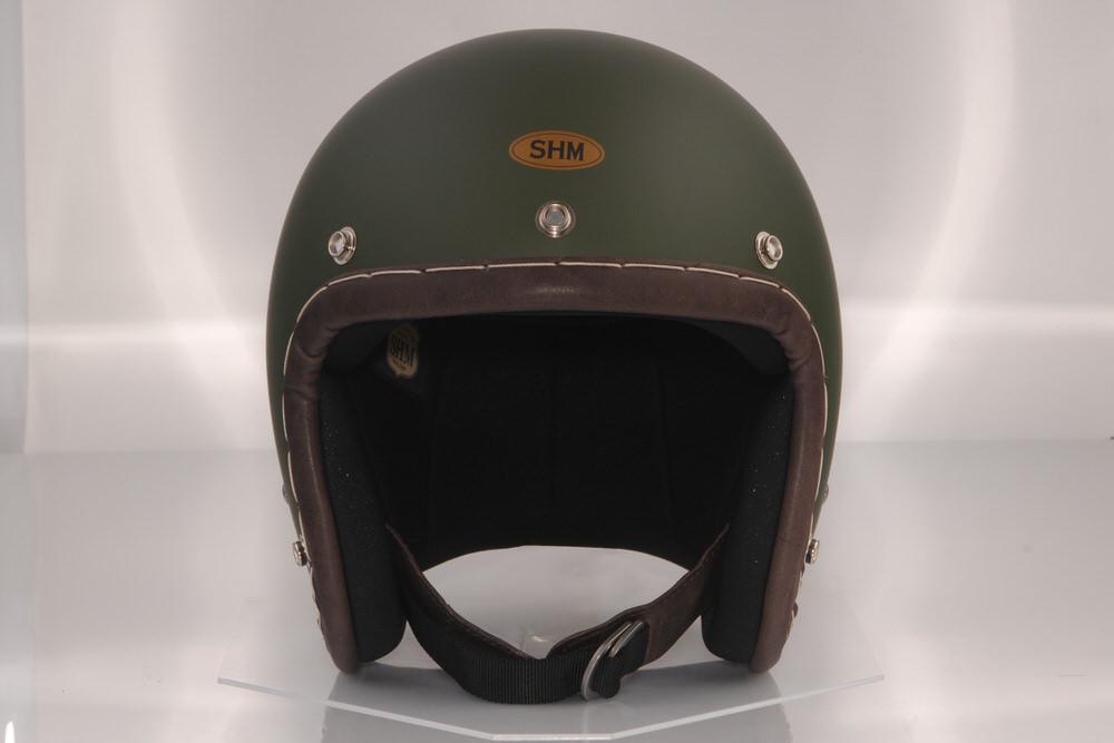 SALE 送料無料 SHM HAND STITCH Lot-105 直送商品 スモールジェット オリーブグリーン 55cm~56cm ジェットヘルメット S
