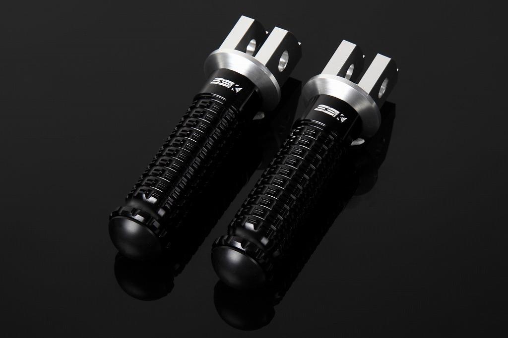 Ninja250(ニンジャ)2018年 アルミ削り出しステップ スタンダードタイプ ライダー用 取付部シルバー ステップバー ブラック SSK(エスエスケー)