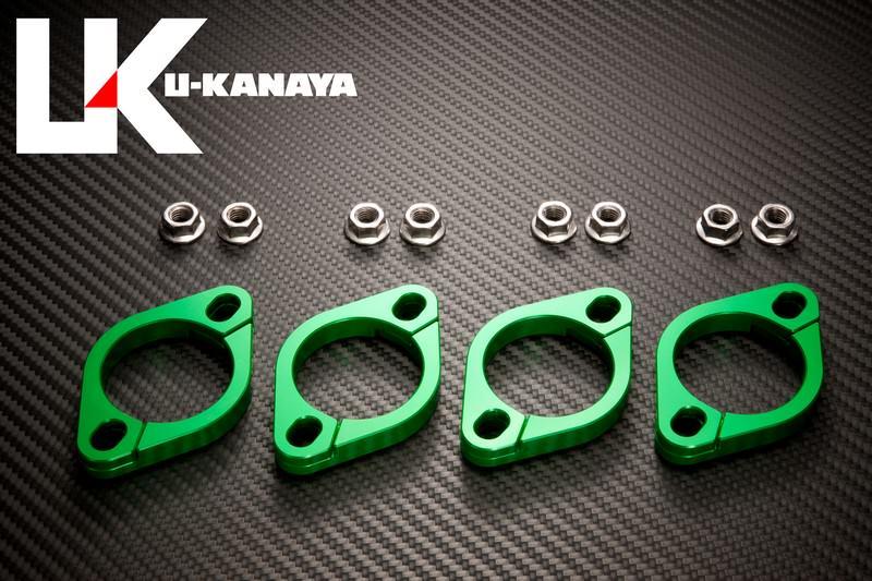 エリミネーター1000(ZL1000) アルミ削り出しエキゾーストフランジ グリーン U-KANAYA