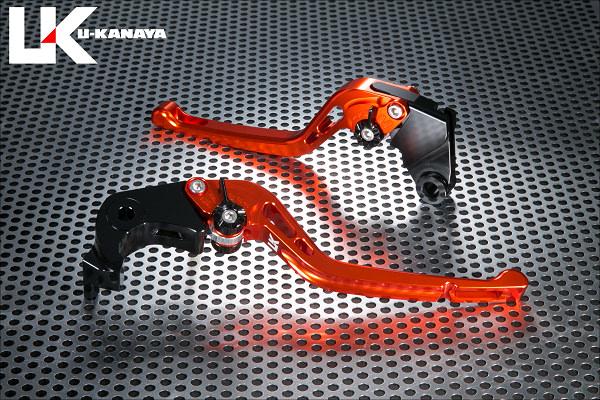 Ninja1000(ニンジャ)17年 GPタイプ ロングアルミビレットレバーセット(オレンジ) U-KANAYA