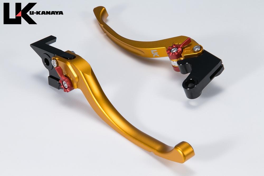 ZRX1200 ツーリングタイプ アルミビレットレバーセット マットゴールド U-KANAYA