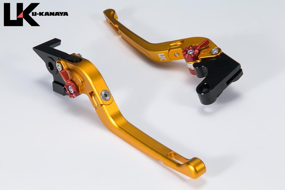 Ninja250SL(ニンジャ) 可倒式Rタイプ アルミビレットレバーセット マットゴールド U-KANAYA