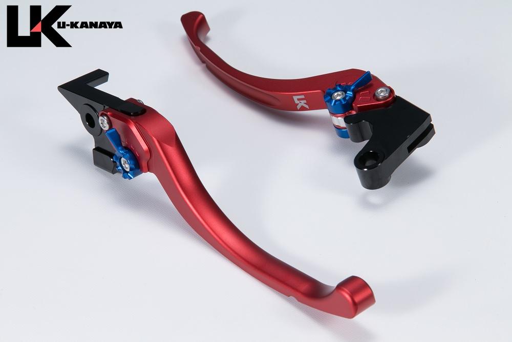 GPX400R ツーリングタイプ アルミビレットレバーセット マットレッド U-KANAYA