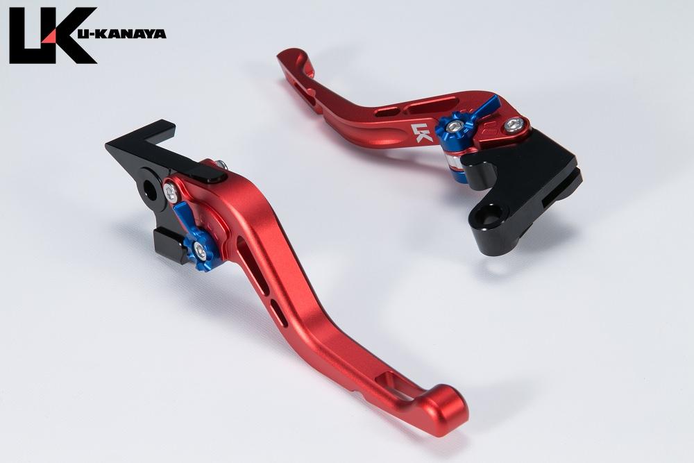 Ninja H2/R GPタイプ ショートアルミビレットレバーセット マットレッド U-KANAYA