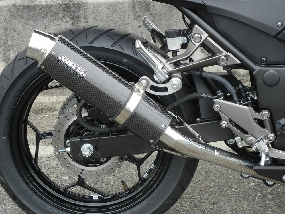 Z250 ABS(JBK-ER250C) ラウンドタイプ スリップオンマフラー ステンレス/カーボン(JMCA認証) WR'S(ダブルアールズ)