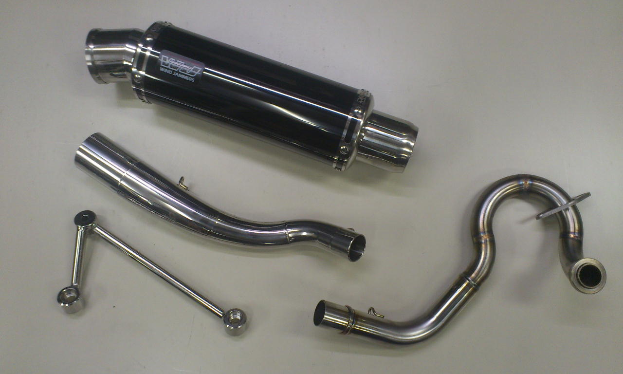 PCX125 eSPエンジン車(JF28・JF56) コイル・コーン・パイプ WJ-S ブラックステンレス 政府認証 ウインドジャマーズ