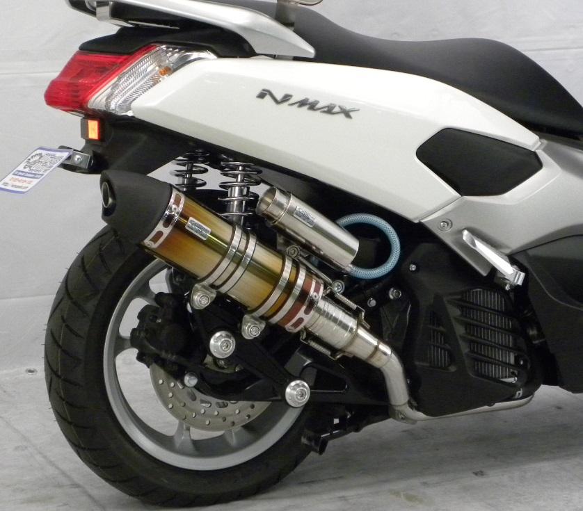 NMAX(エヌマックス)EBJ-2BJ-SED6J・EBJ-SE86J アニバーサリーマフラー ユーロタイプ チタン ビレットステー/ブラック ボルトキャップ/ゴールド ウイルズウィン(WirusWin)