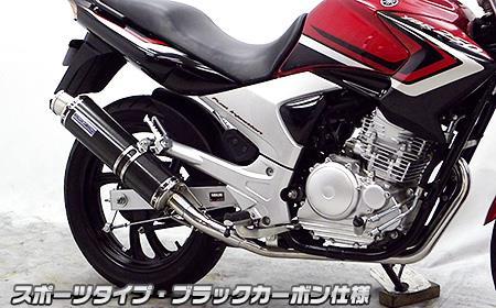 YBR250(型式:PCNLD) ダイナミックマフラー スポーツタイプ ブラックカーボン仕様(フルエキゾースト) ウイルズウィン(WirusWin)