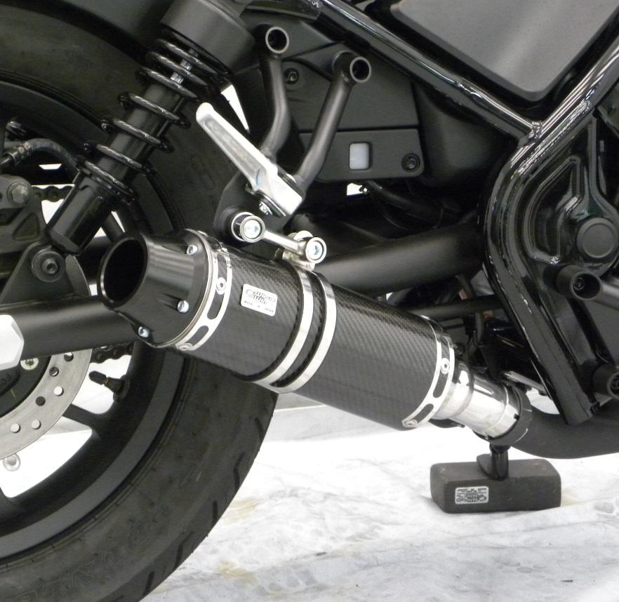 レブル250(Rebel250)2BK-MC49 スリップオンマフラー バレットタイプ ブラックカーボン仕様 ウイルズウィン(WirusWin)