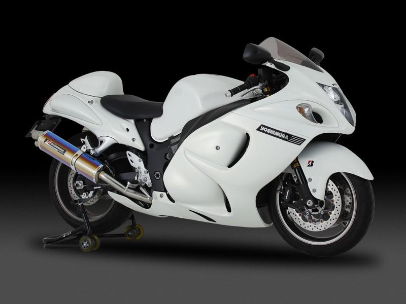 GSX1300R(隼)08年~ スリップオンマフラー Tri-Ovalサイクロン 2END EXPORT SPEC STB (チタンブルーカバー) YOSHIMURA(ヨシムラ)