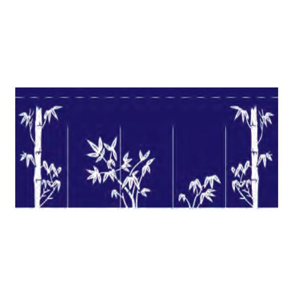 関西風のれん 柄:竹 004018009 80×175cm(5巾) K18-8-5-A 紺
