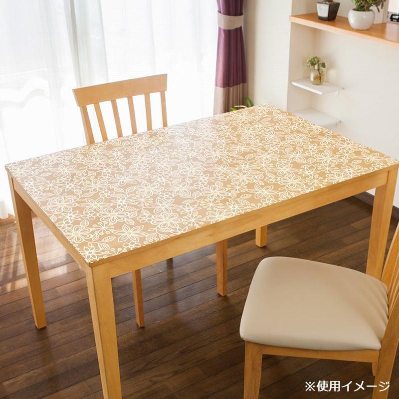 貼る透明テーブルクロス フラワー 90×1500cm ホワイト KPL-02
