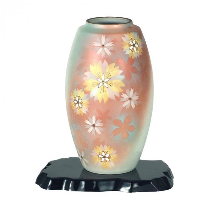 九谷焼 万作作 9号花瓶 花紋 N169-07