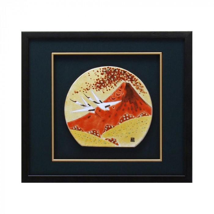九谷焼 良則作 陶額 秋の富士 N182-06