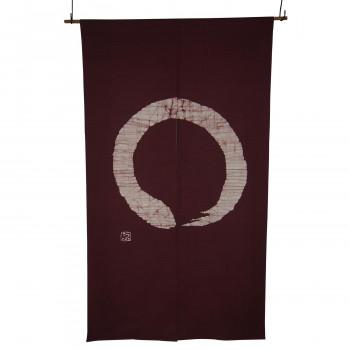 綿のれん 円 白い円 M-879 こげ茶 約巾85×丈150cm