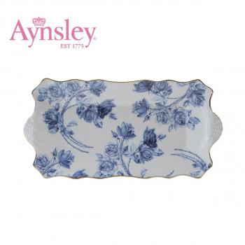 Aynsley(エインズレイ) エリザベスローズブルー ティータイム サンドイッチトレイ EROB20647C
