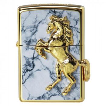 開催中 馬のモチーフがかっこいいZIPPO ZIPPO 爆買い新作 ホワイトマーブル ゴールドプレートウイニングウィニー