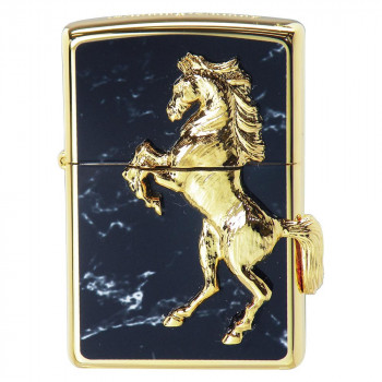 馬のモチーフがかっこいいZIPPO ZIPPO アウトレット☆送料無料 ゴールドプレートウイニングウィニー ブラックマーブル 高価値