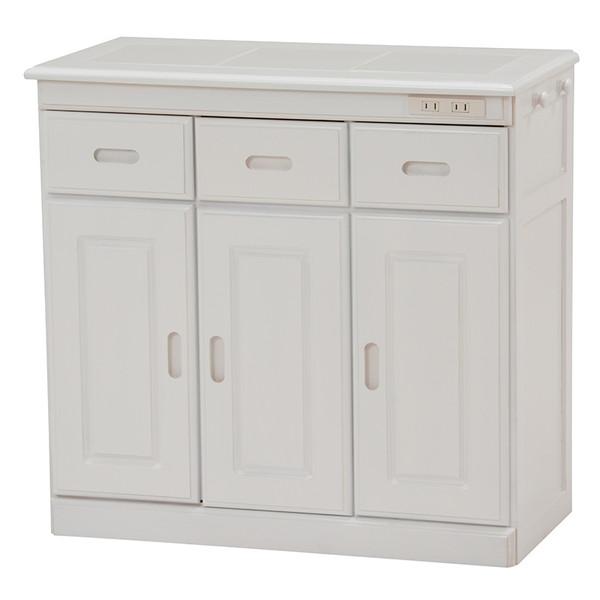 キャスター付き桐材キッチンカウンター ノーマルタイプ (ホワイト) MUD-6123WH