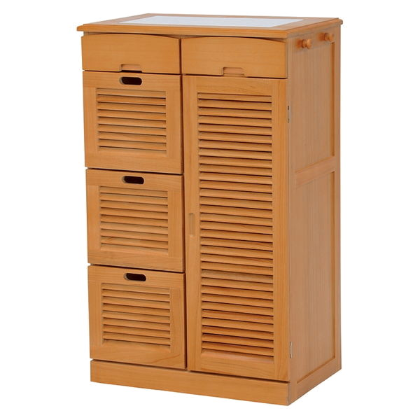 桐製ルーバー扉キッチンカウンター(ライトブラウン) ノーマルタイプ MUD-6827LBR