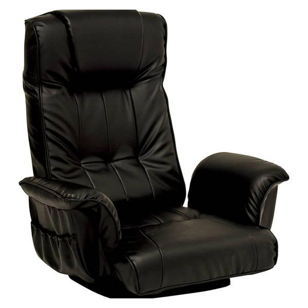 リクライニング回転座椅子(ブラック) LZ-4372BK 2脚セット