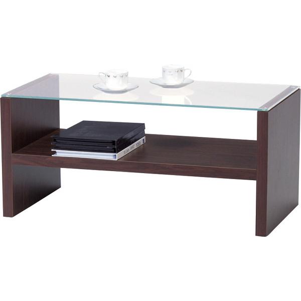 ガラス天板テーブル ブラウン HAB-621BR