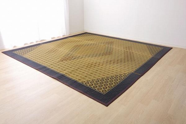 い草ラグ 国産 ラグ カーペット 約3畳 正方形 『DX組子』 ブラウン 約191×250cm (裏:不織布)