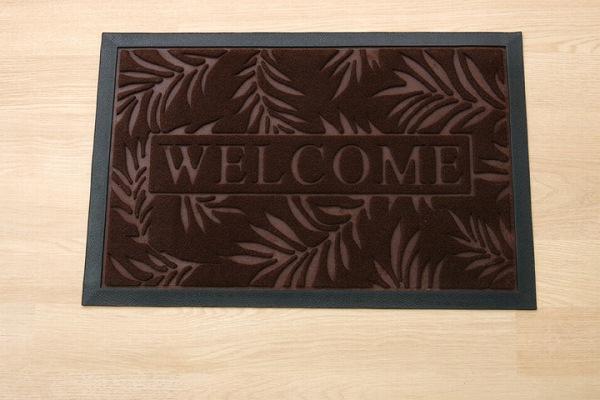 玄関マット リーフ柄  屋外用 『ステイ』 ブラウン 約40×60cm:送料0円 家具