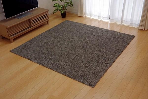 ラグ カーペット 3畳 洗える タフト風 『ノベル』 ベージュ 約140×340cm 裏:すべりにくい加工 (ホットカーペット対応)